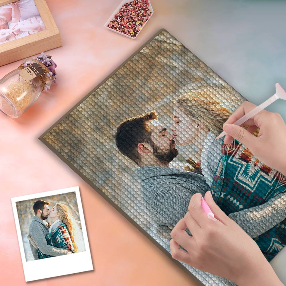 5D Custom Diamond Painting DIY Diamond Painting Kit Full Square Round Rhinestone Unique Gifts 20*30cm - Love Moments