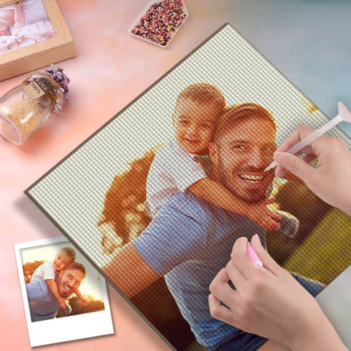 5D Custom Diamond Painting DIY Diamond Painting Kit Full Square Round Rhinestone Unique Gifts 30*30cm - Love Dad