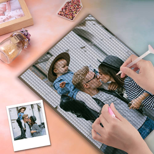 5D Custom Diamond Painting DIY Diamond Painting Kit Full Square Round Rhinestone Unique Gifts 30*40cm - Family