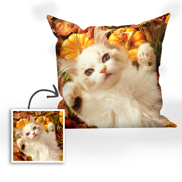 Custom Cat Photo Throw Pillow