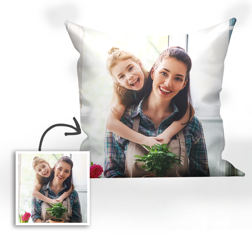 Custom Mother and Daughter Photo Throw Pillow