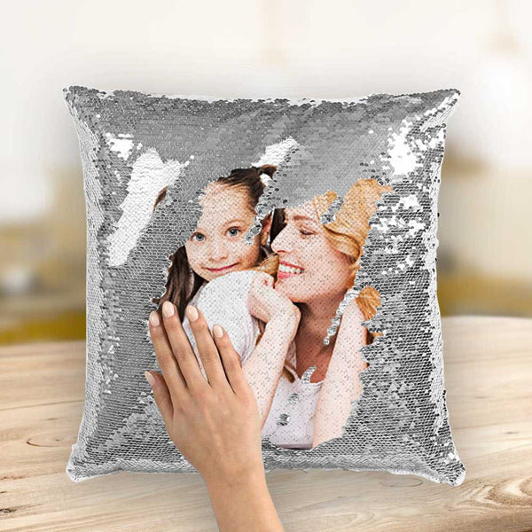 Mother's Day Gifts Couple Photo Personalized Magic Sequins Pillow Multicolor Shiny 15.75''*15.75'' - For Mom