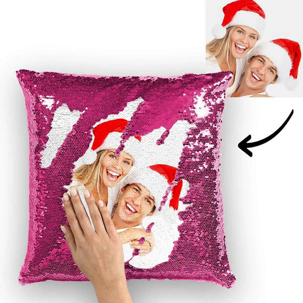 Christmas Gifts Couple Photo Personalized Magic Sequins Pillow Multicolor Shiny 15.75''*15.75''