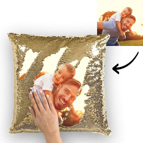 Custom Photo Magic Sequins Pillow Multicolor Shiny 15.75''*15.75''  - Father's Day Gifts