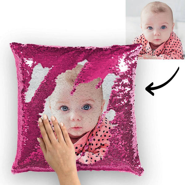 Custom Baby Photo Magic Sequins Pillow Multicolor Shiny 15.75''*15.75''
