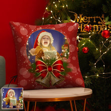 "Christmas Gifts Custom Sequin Pillow Photo Pillow Red Pillow with Bells 15.75""*15.75""- Cotton"