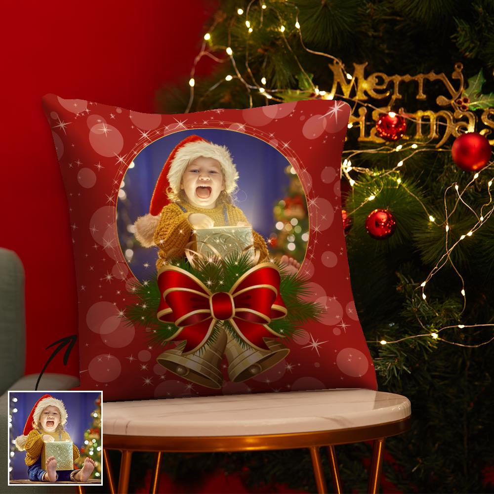 Christmas Gifts Custom Sequin Pillow Photo Pillow Red Pillow with Bells 15.75