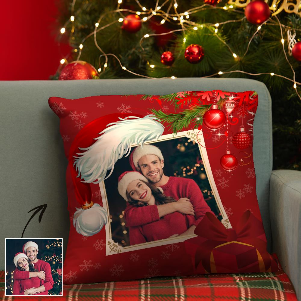 Christmas Gifts Custom Photo Sequin Pillow for Christmas Red Pillow 15.75