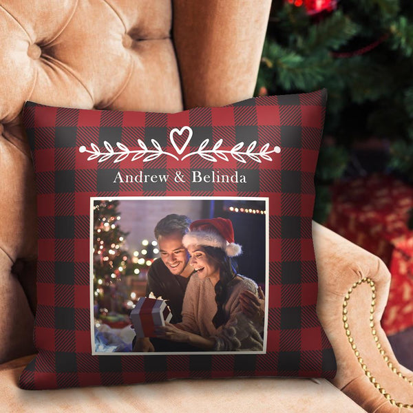 Custom Photo Pillow Case with Text Red Pillow Christmas Gifts
