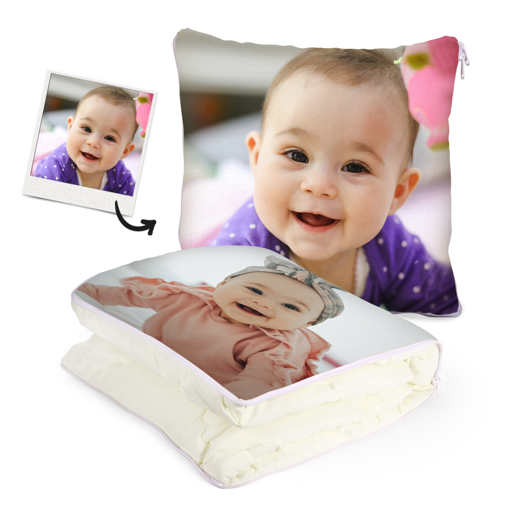 Custom Baby Photo Quillow - Multifunctional Throw Pillow and Quilt 2 in 1 - 47.25