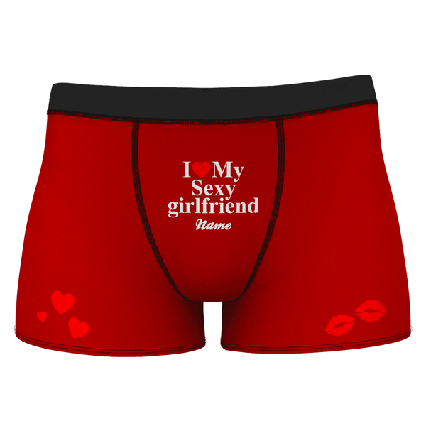 Men's I Love My Sexy Girlfriend Name Shorts Boxer