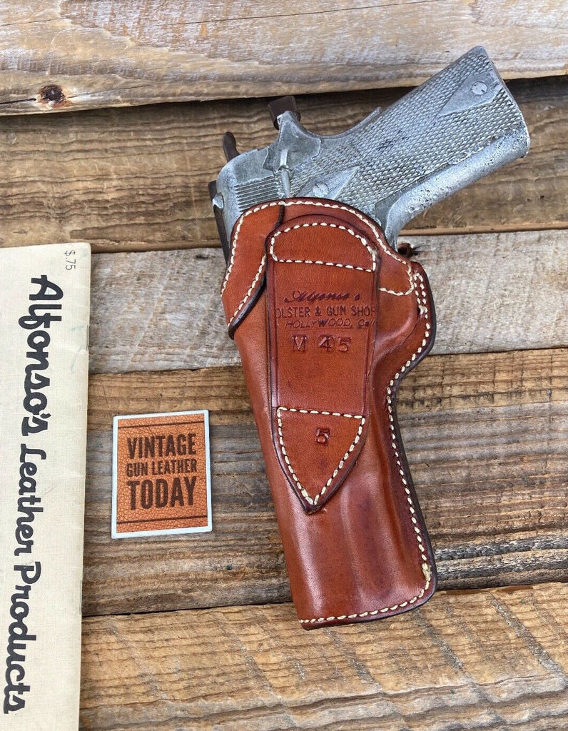 Alfonsos Black Leather Holster Magazine Holder For Colt Government 1911 5""
