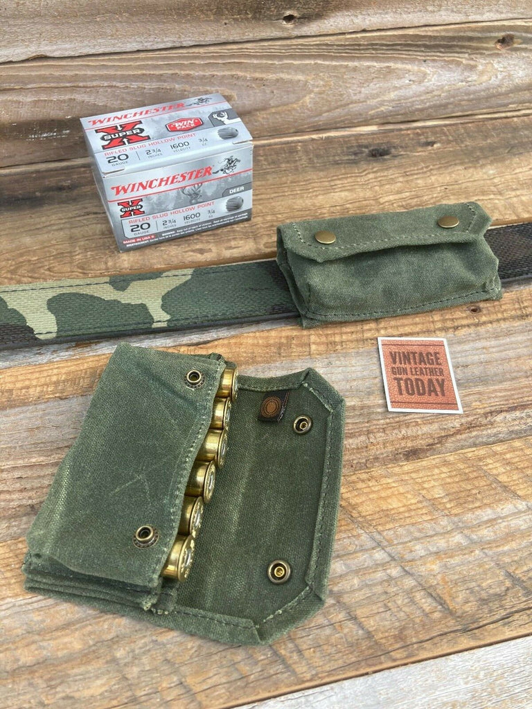 Waxed OD Green Canvas 6 Round .20 Gauge Shotgun Shell Pouch Carrier Military