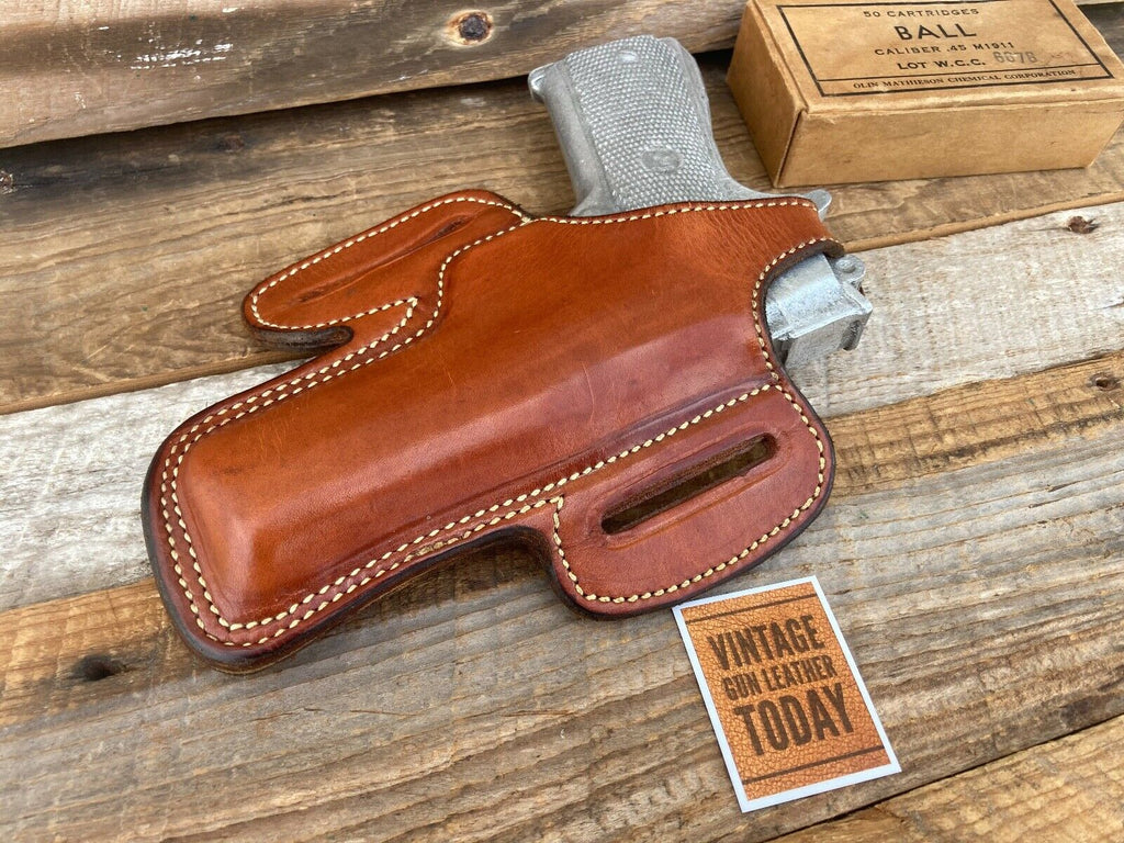 Alfonso's Brown Plain Leather Suede Lined Holster for Colt Commander .45 Right
