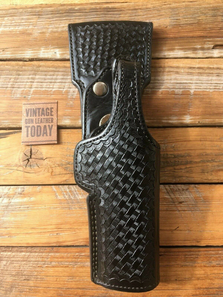 Vintage Alfonsos Black Basketweave Lined Swivel Duty Holster For S&W 4566 Auto