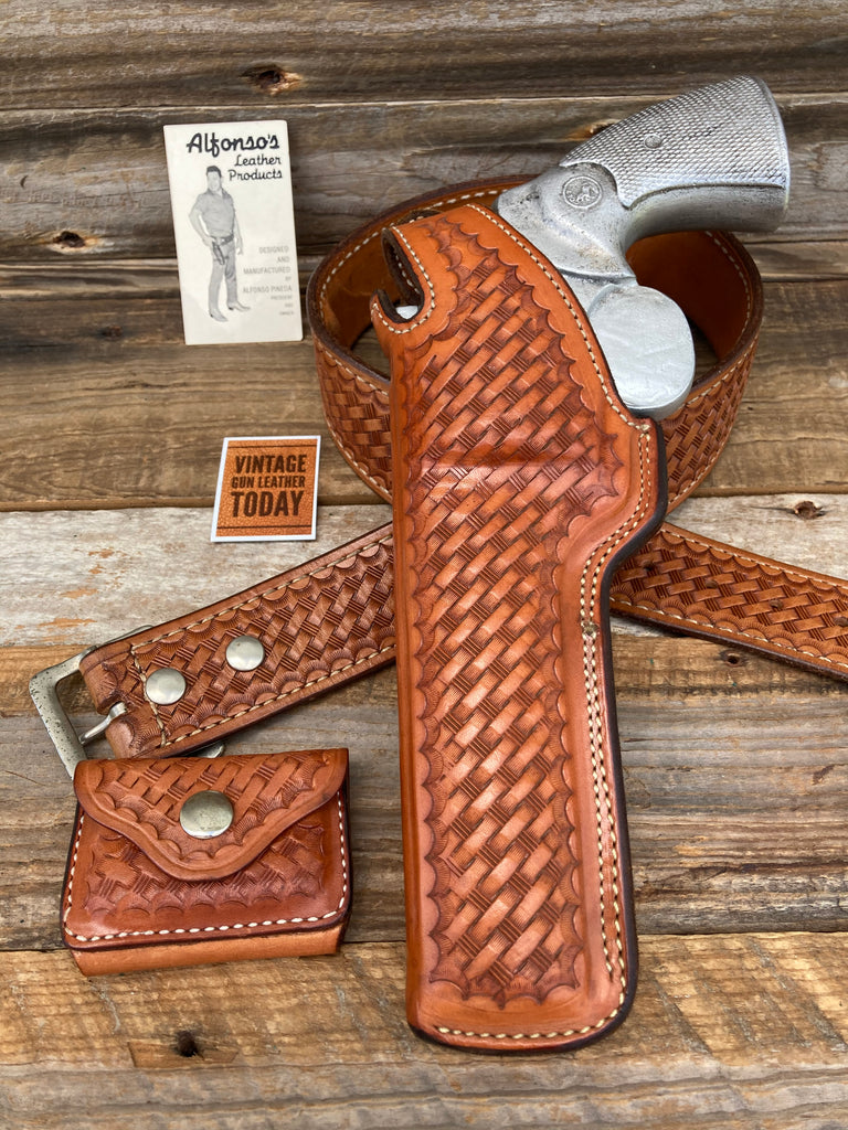 Alfonsos Brown Basketweave Leather Holster For Colt Python Revolver S&W L Frame.