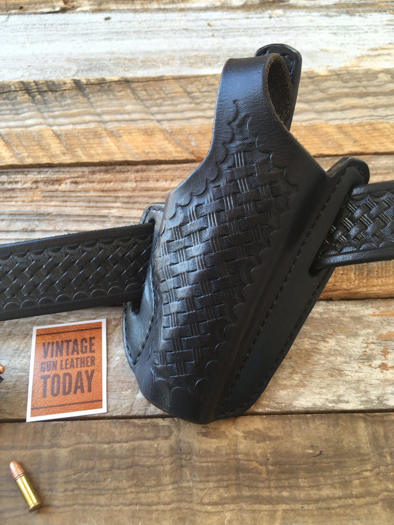 Vintage Jackass / GALCO Black Basketweave Leather Holster For H&K HK4