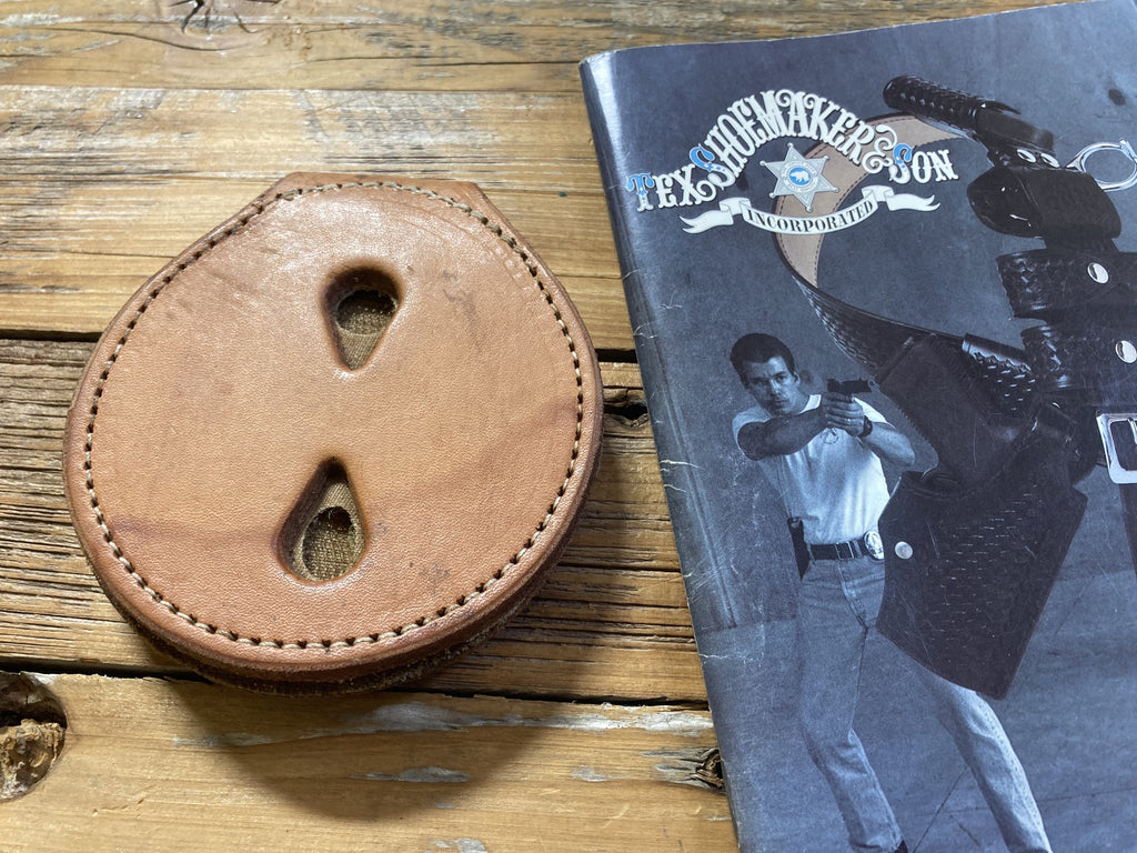 Vintage Tex Shoemaker Brown Clip On Badge Holder
