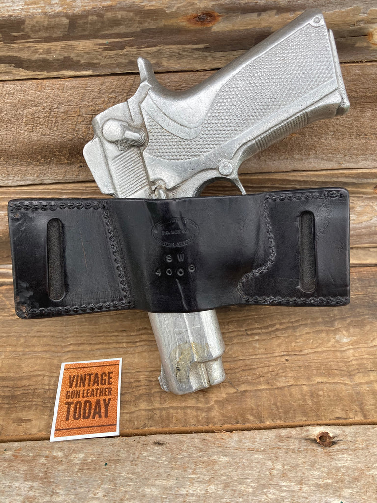 Vintage Black Leather OWB Holster For S&W 4006