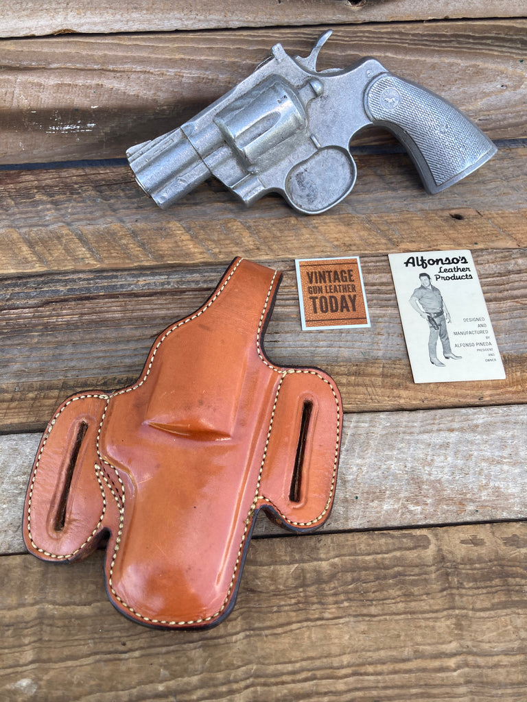 Alfonso's Brown Plain Leather F60 Lined Holster For Colt Python / L Frame 2.5""