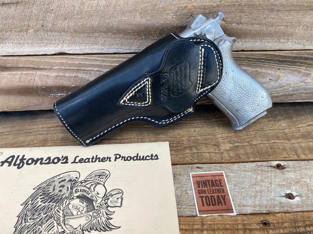 Alfonsos Of Hollywood Black Leather Lined Holster For S&W 4506 Reinforced Lip