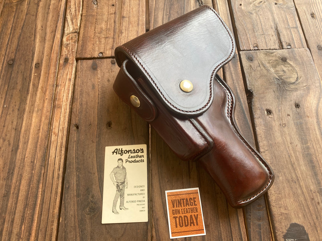 Alfonsos Cordovan Brown Suede Lined Leather Flap Holster For Walther P38 Mauser