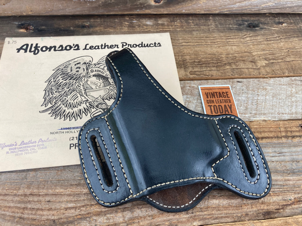 Alfonso's J21 Plain Black Leather Suede Lined Holster For S&W 4006 Square