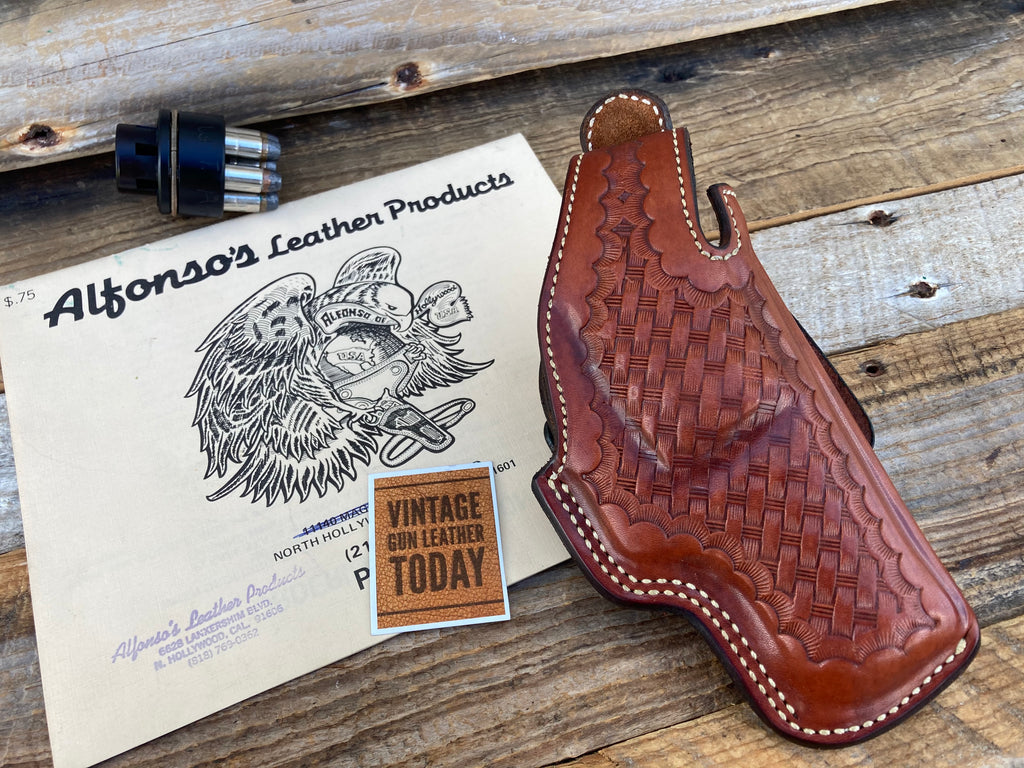 Alfonso's Brown Basketweave Lined Holster For S&W 586 686 L Frame Revolver 2.5
