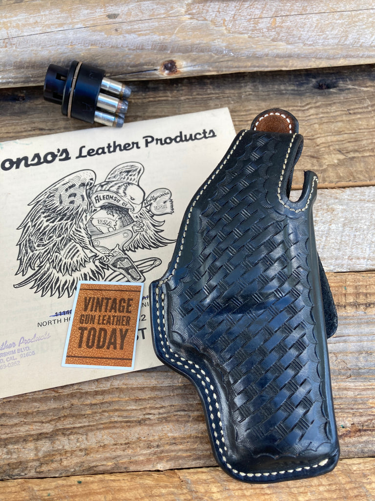 Alfonso's Black Basketweave Lined Holster For S&W 586 686 L Frame Revolver 2.5