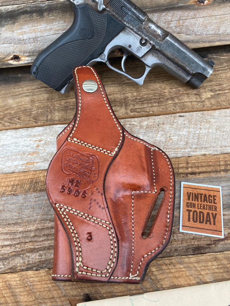 Alfonso's Brown Basketweave Suede Lined Holster For S&W 5906 Thumb Break