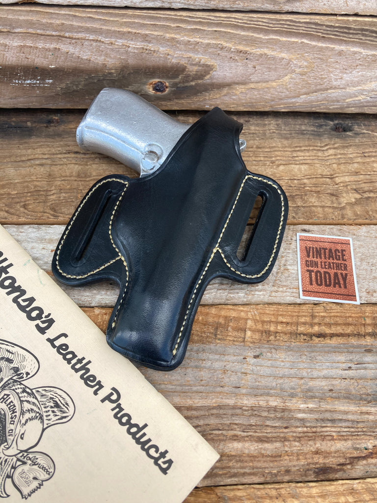 Alfonso's Plain Black Leather White Stitched OWB Holster For Beretta 84 Sig P230