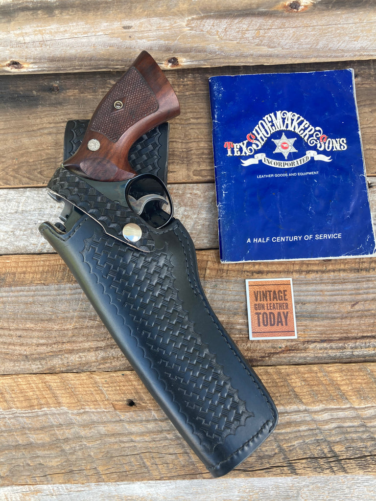 "Tex Shoemaker 35AN Basketweave Leather Border Patrol Holster For 6"" S&W L Frame"