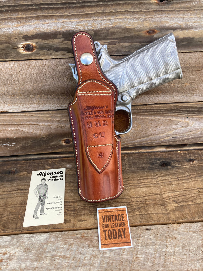 Alfonso's Plain Brown Leather IWB OWB Lined Holster for Colt Commander Right