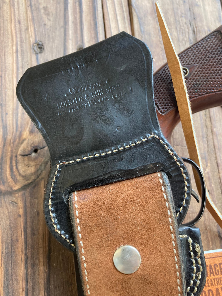 "Alfonso's Black Leather Suede Lined Western Holster for 6"" L Frame 686 Python"
