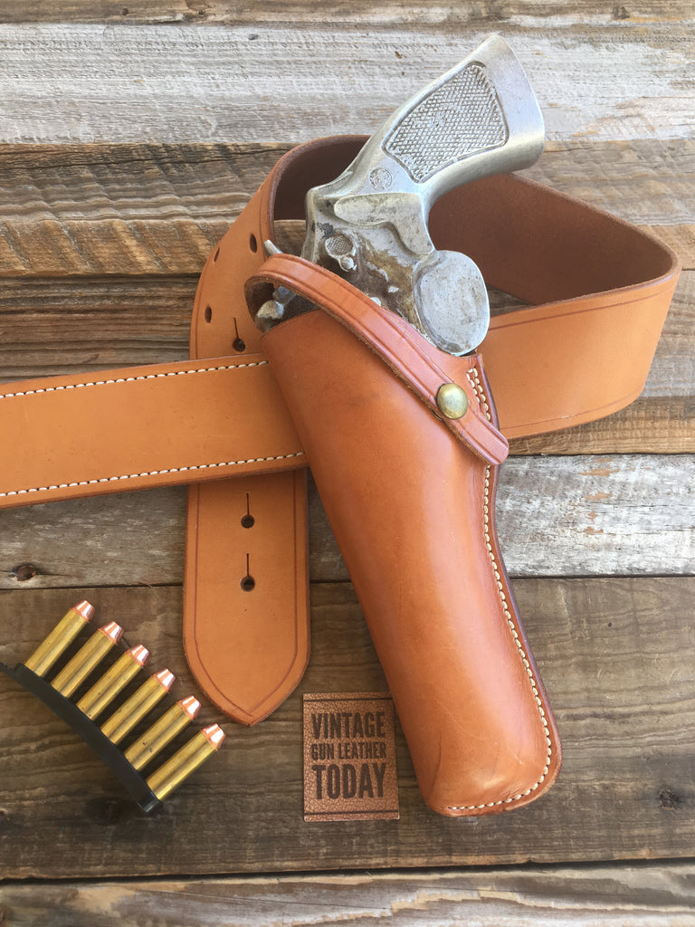 "Charles Bluemel El Paso Texas Brown Leather Large N Frame 6"" Revolver Holster Fits Colt"