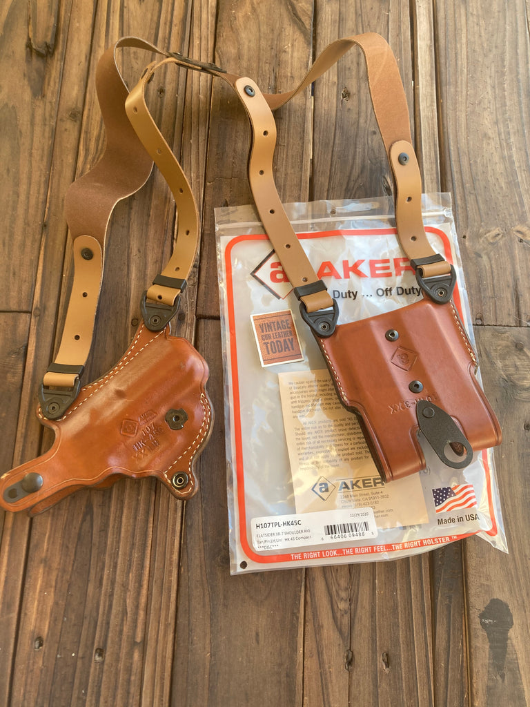 Discontinued AKER Flatsider Leather Shoulder Holster For H&K 45 Compact LEFT