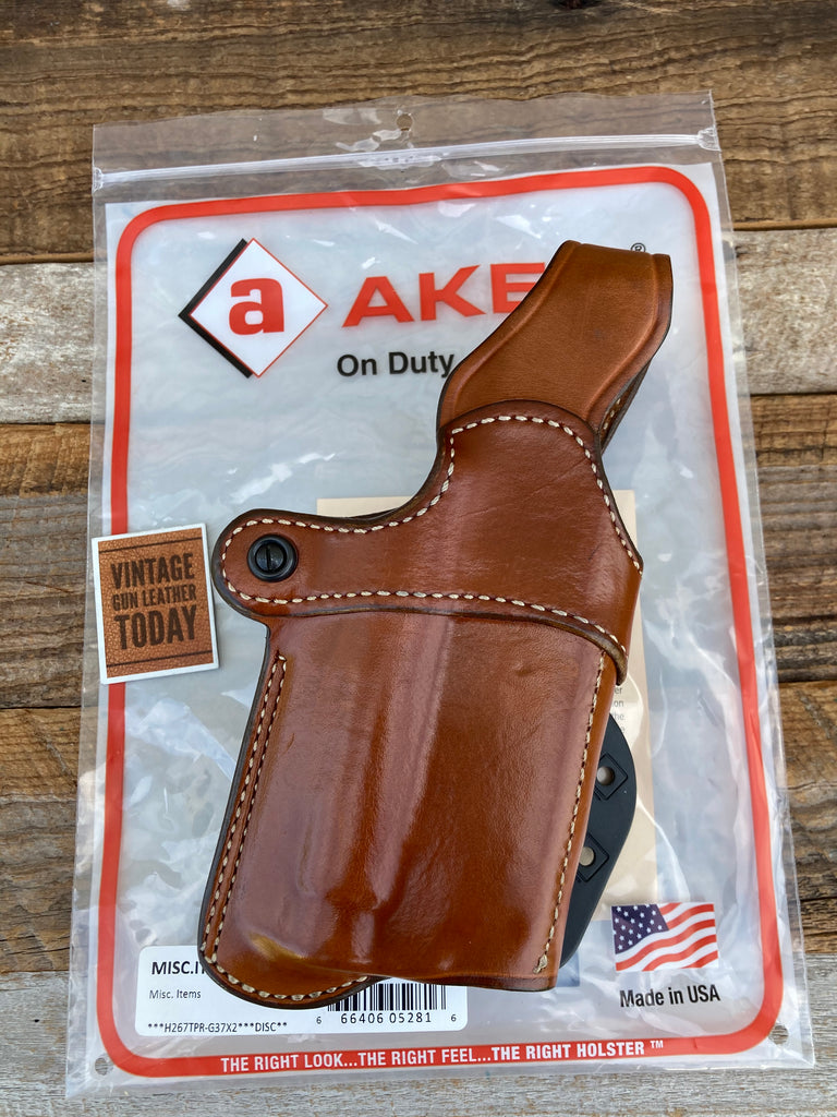 AKER Nightguard Brown Leather Paddle Holster For G37 GLOCK 37  w/ x200 or x300