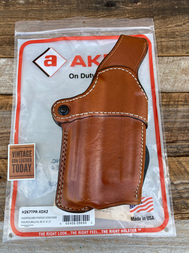 "AKER Nightguard Leather Paddle Holster For Springfield XD 3"" 4"" 5"" w/ x200 x300"