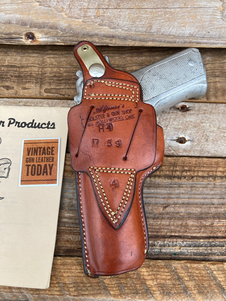 Alfonso's Brown Basketweave Leather OWB Holster for S&W 39 59 Cross Draw Strong