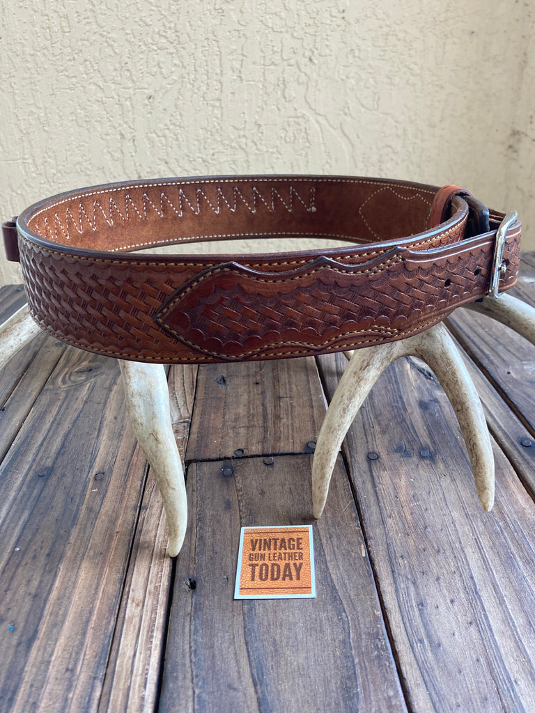 "Alfonso's 34 Suede Lined Basketweave Leather Cartridge Gun Belt .44 .45 33"" 37"""