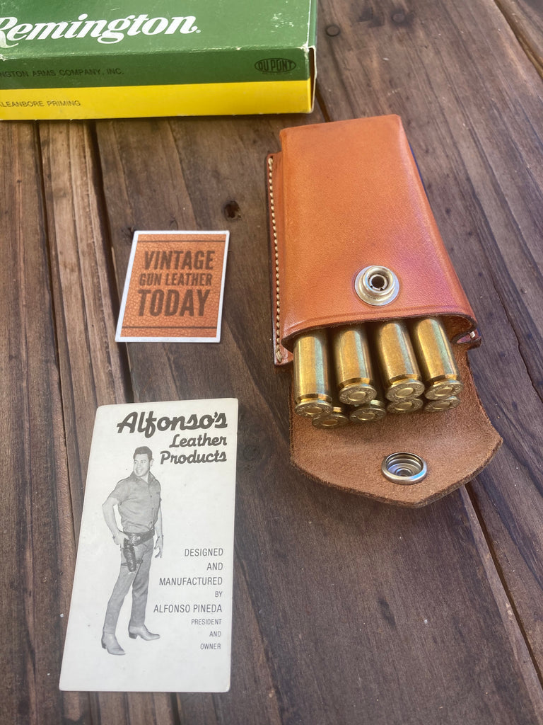 Vintage 1980s Alfonsos Plain Leather Rifle Cartridge Carrier Case 30 30 06 300