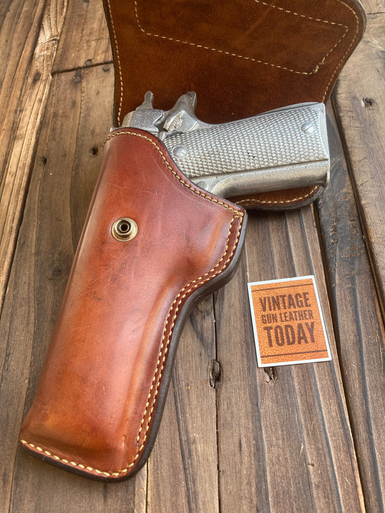 Alfonsos Plain Brown Suede Lined Flap Holster For Colt 45 1911 Vis Radom Left