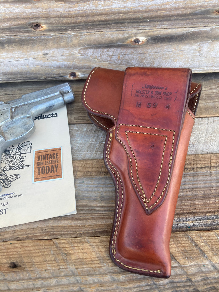 Alfonsos Plain Brown Suede Lined Flap Holster For S&W Model 59 Round Trigger