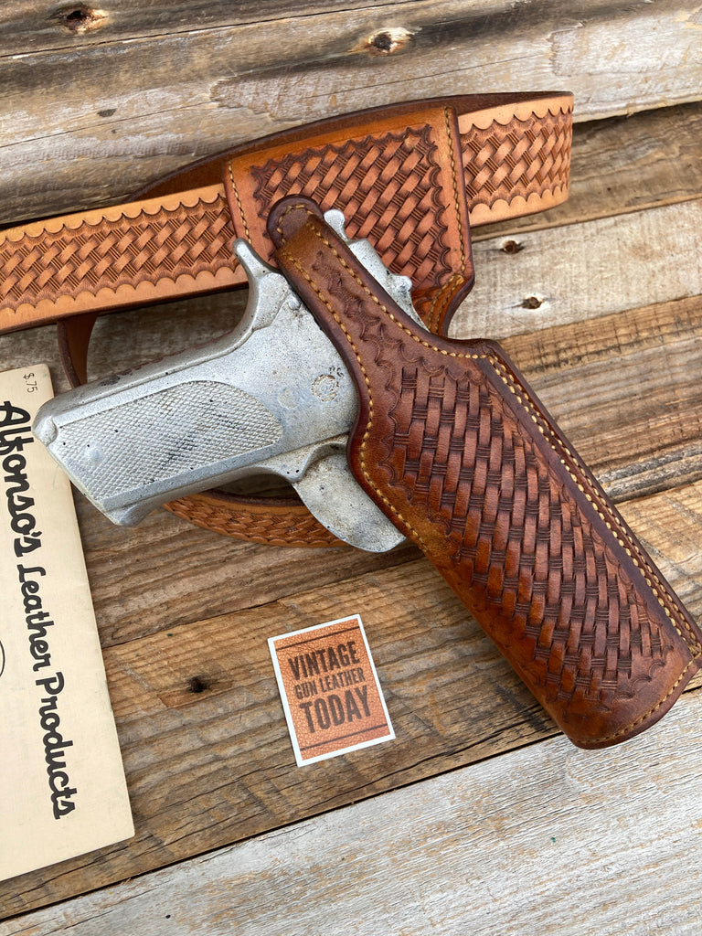 Alfonsos Brown Basketweave Leather Lined Holster For S&W Model 39 59 Round Trig