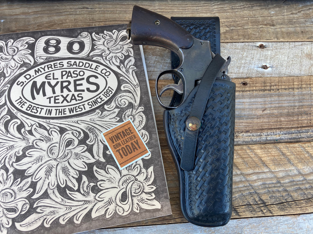 Vintage 1920 1969 SD MYRES Basketweave Swivel Holster For S&W K Frame 4 Revolver