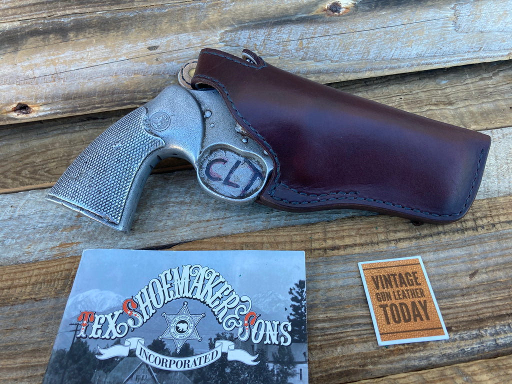 Vintage Tex Shoemaker Cordovan Brown Lined Holster for Python / S&W L 4 Revolver