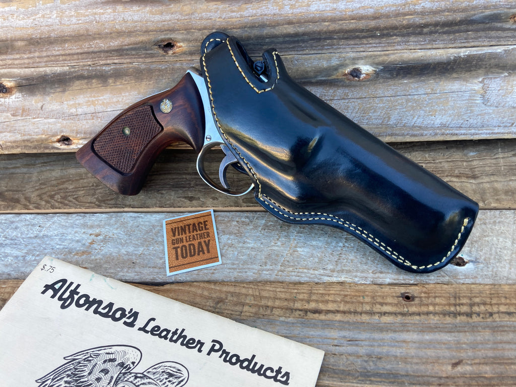 Alfonso's Black Smooth Leather Lined Holster For S&W 586 L Frame Revolver 4""