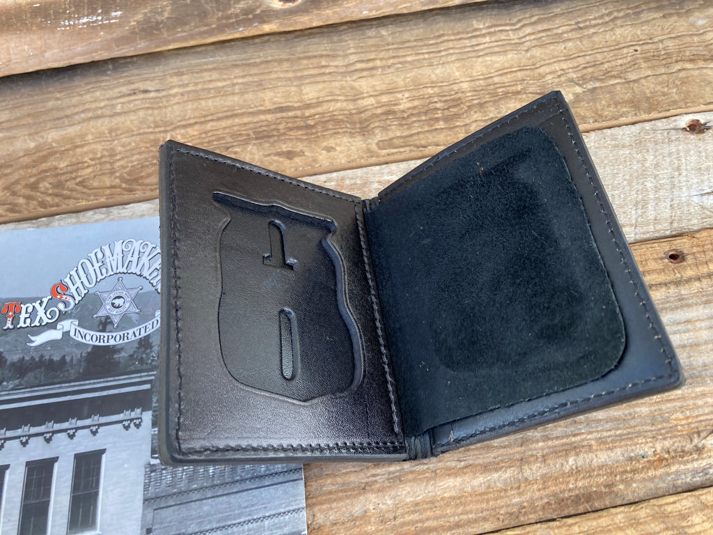 Vintage Tex Shoemaker Portland Oregon PD Black Leather Badge Wallet / ID Holder
