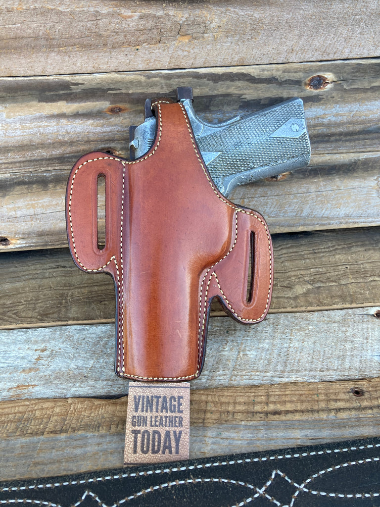 Alfonso's Brown Plain Leather Suede Lined Holster for Colt Commander .45 Open