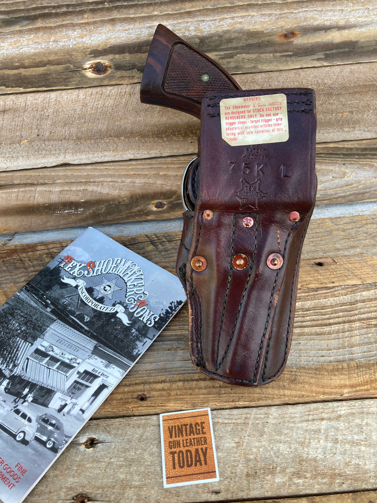Tex Shoemaker 75K Cordovan Brown Basketweave Break Front Left Draw Lined Holster